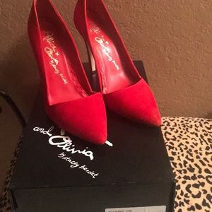 Alice and Olivia red suede pumps